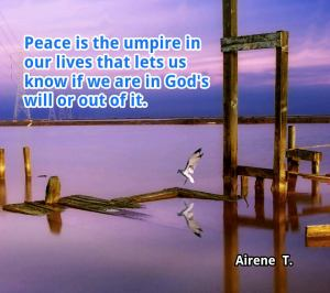"Col. 3:15 ""And let the peace of God rule in your hearts, to the which also ye are called in one body; and be ye thankful."""